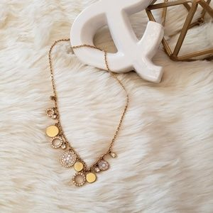 Fossil Rosegold Pave Disk Glitz Necklace